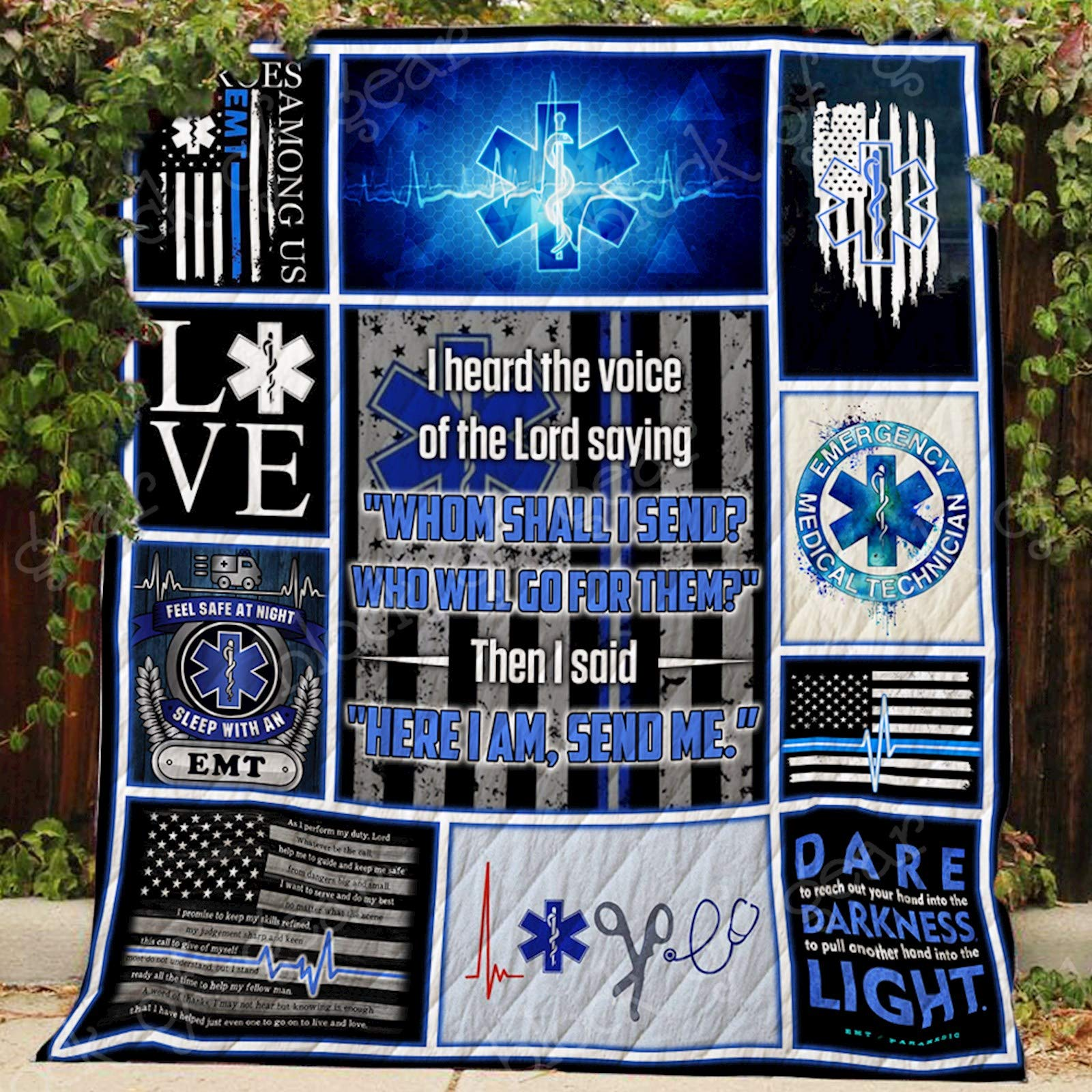 EMT Paramedic Thin White Line Quilt P202, Twin All-Season Quilts Comforters with Reversible Cotton King/Queen/Twin Size - Best Decorative Quilts-Unique Quilted for Gifts
