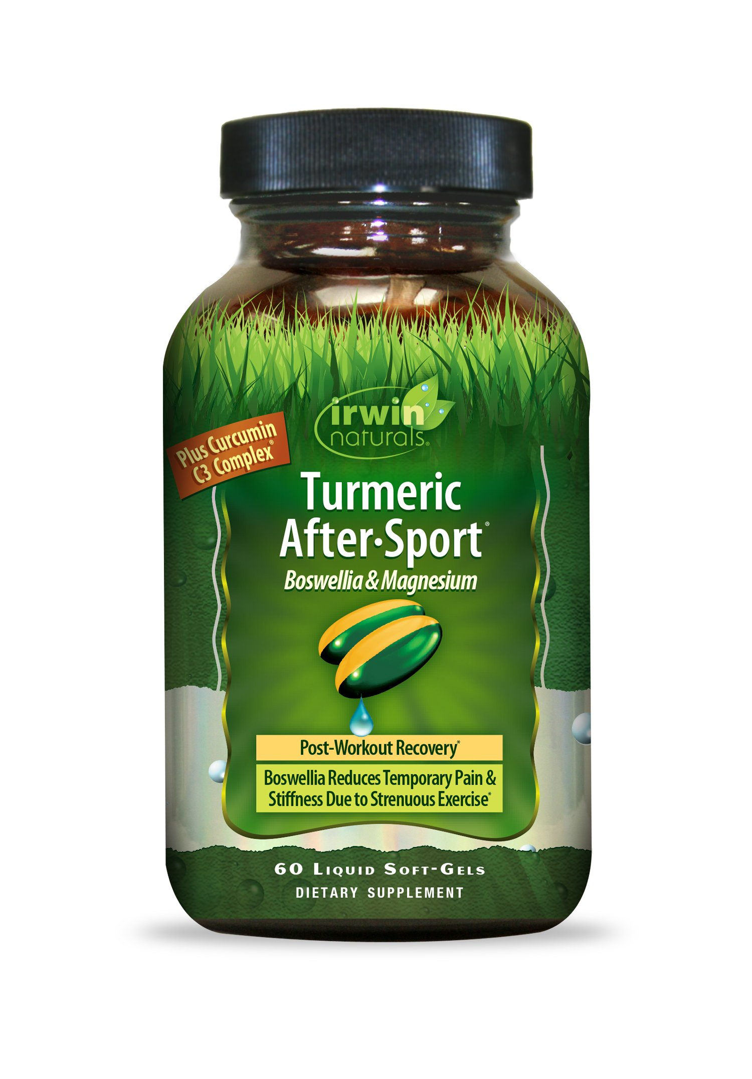 Turmeric After Sport by Irwin Naturals, with Boswellia & Magnesium, Powerful Post-Workout Recovery, 60 Liquid Soft-Gels