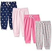 Amazon Essentials Baby Girls 4-Pack Pull-on Pant, Solid, Heart, Navy & Grey, Newborn