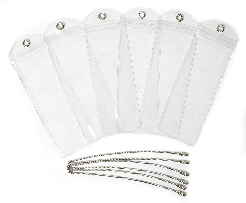6 St/ück schmale robuste wasserfeste PVC Kofferanh/änger mit Klipp-Verschluss und hochwertigem verschraubbaren Metallband HOPEVILLE Gep/äckanh/änger f/ür Kreuzfahrten