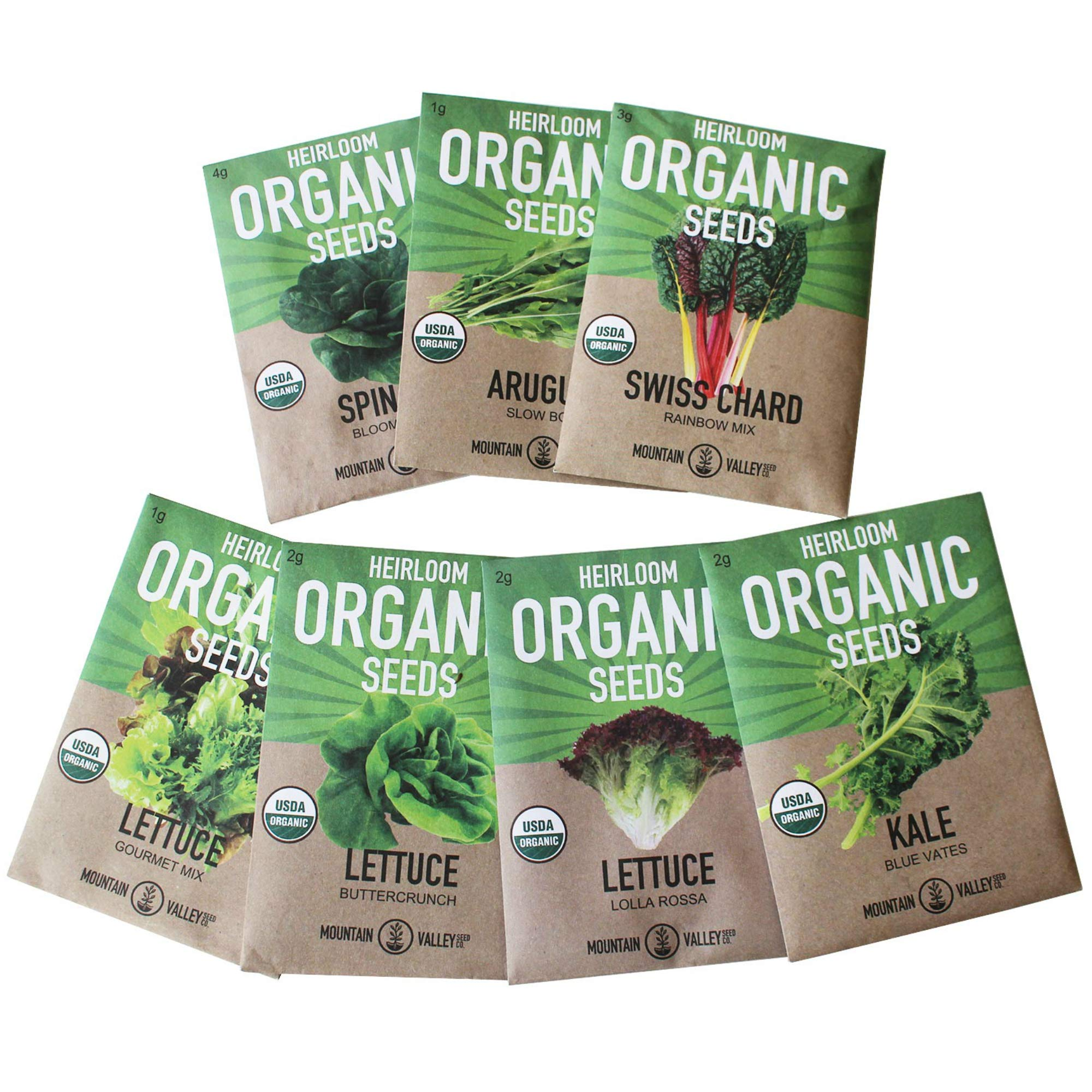 Organic, Heirloom, Non-GMO, Garden Seeds - 7 Varieties of Vegetable Leafy Power Greens - Arugula, Kale, Lolla Rossa Lettuce, Buttercrunch Lettuce, Gourmet Mix Lettuce, Spinach, Swiss Chard by Mountain Valley Seed Company