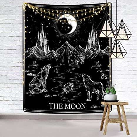 Hexagram Aesthetic Tarot Tapestry Black And White Tapestry Wall Hanging Gothic Wolf And Moon Wall Tapestry For Bedroom Living Room Dorm Room Home Decor 51 X 59 Inches Home Kitchen