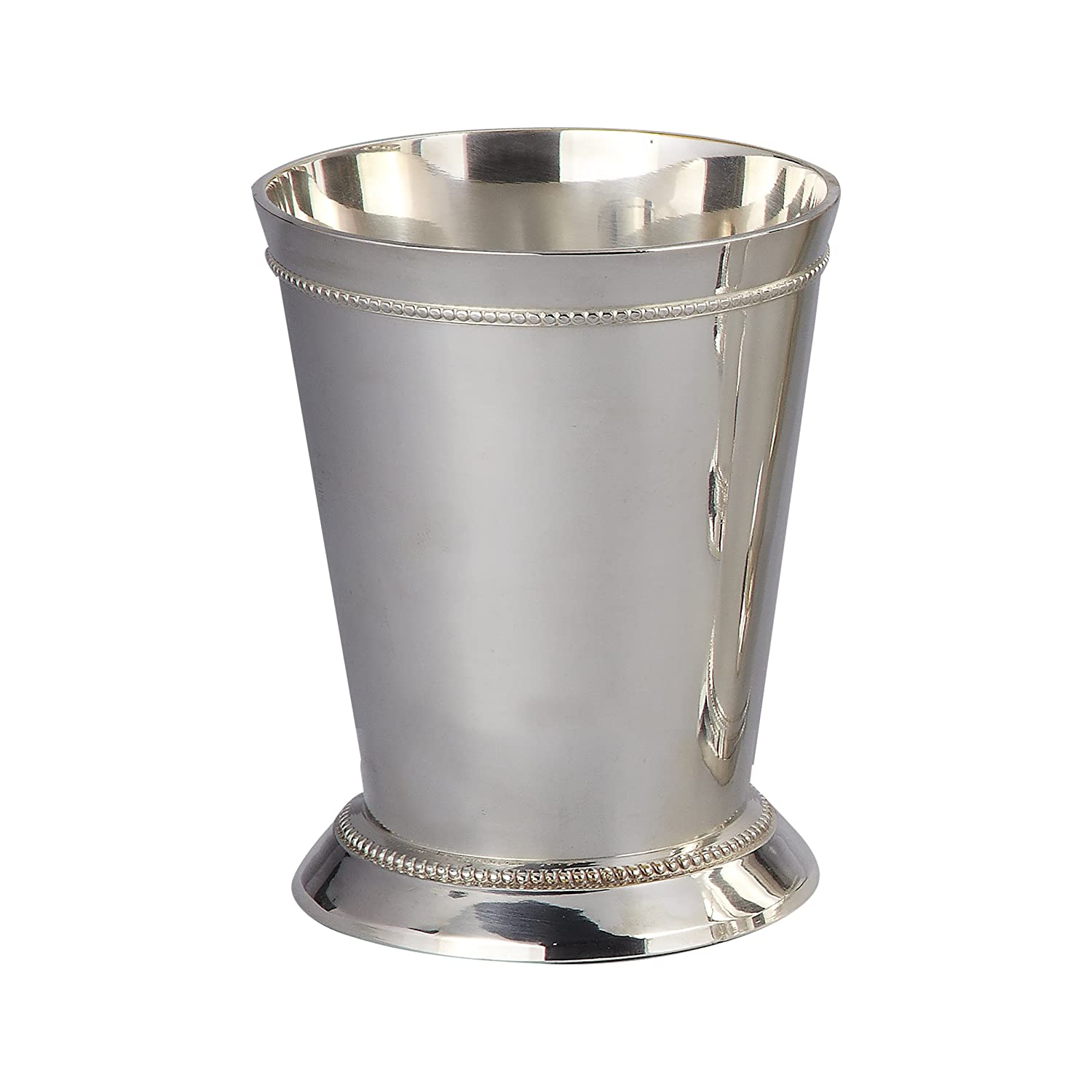 Elegance Silver 90372 Silver Plated Small Beaded Mint Julep Cup, 6 oz. 90372-ES