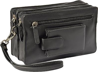 Real Leather Wrist Clutch Bag Wristlet Money Organiser Travel Pouch