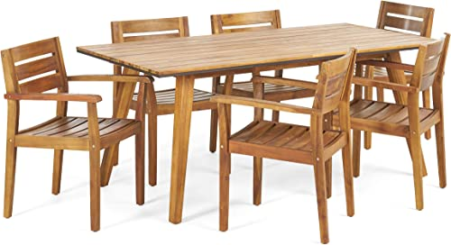 Christopher Knight Home 306255 Renee Outdoor 7 Piece Acacia Wood Dining Set