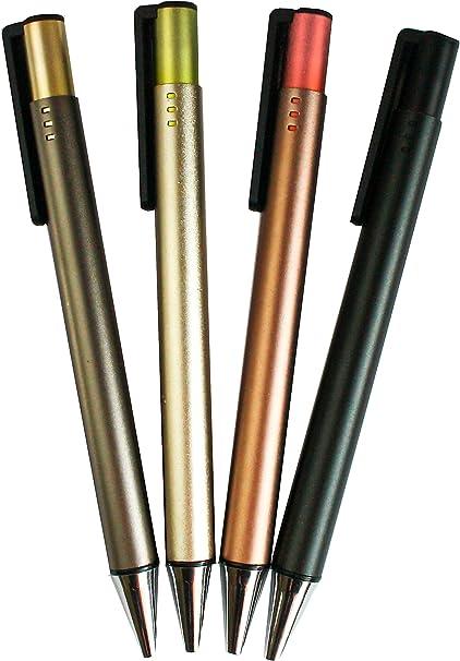 Emartbuy Pack De 4 Bolígrafos Escritura Suave, Acabado Metálico, Azul Tinta - Surtido De Colores: Amazon.es: Oficina y papelería