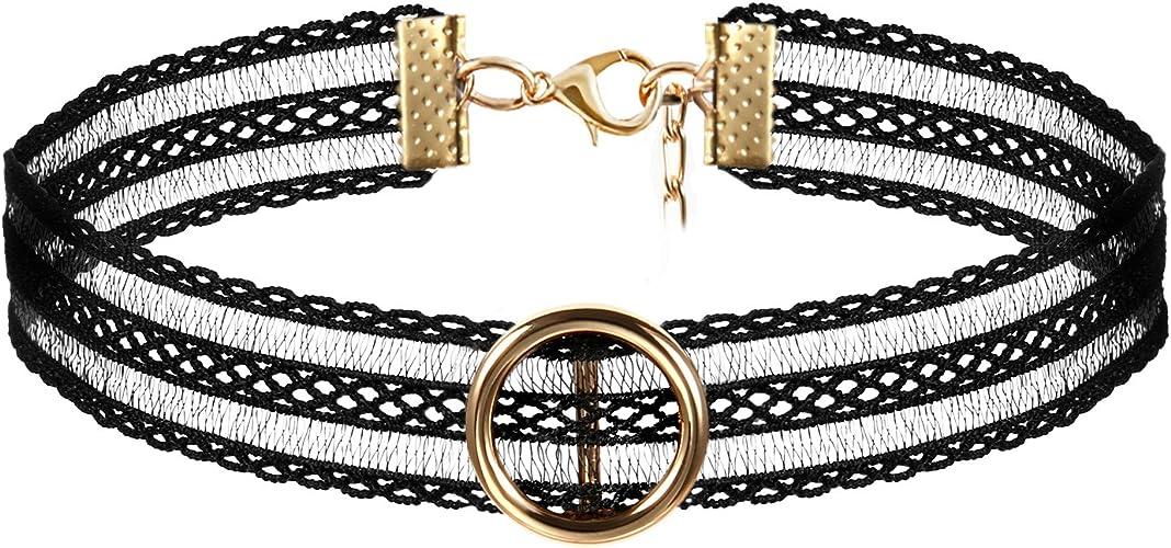 Choker Halsband Kropfband Spitze schwarz Gothic