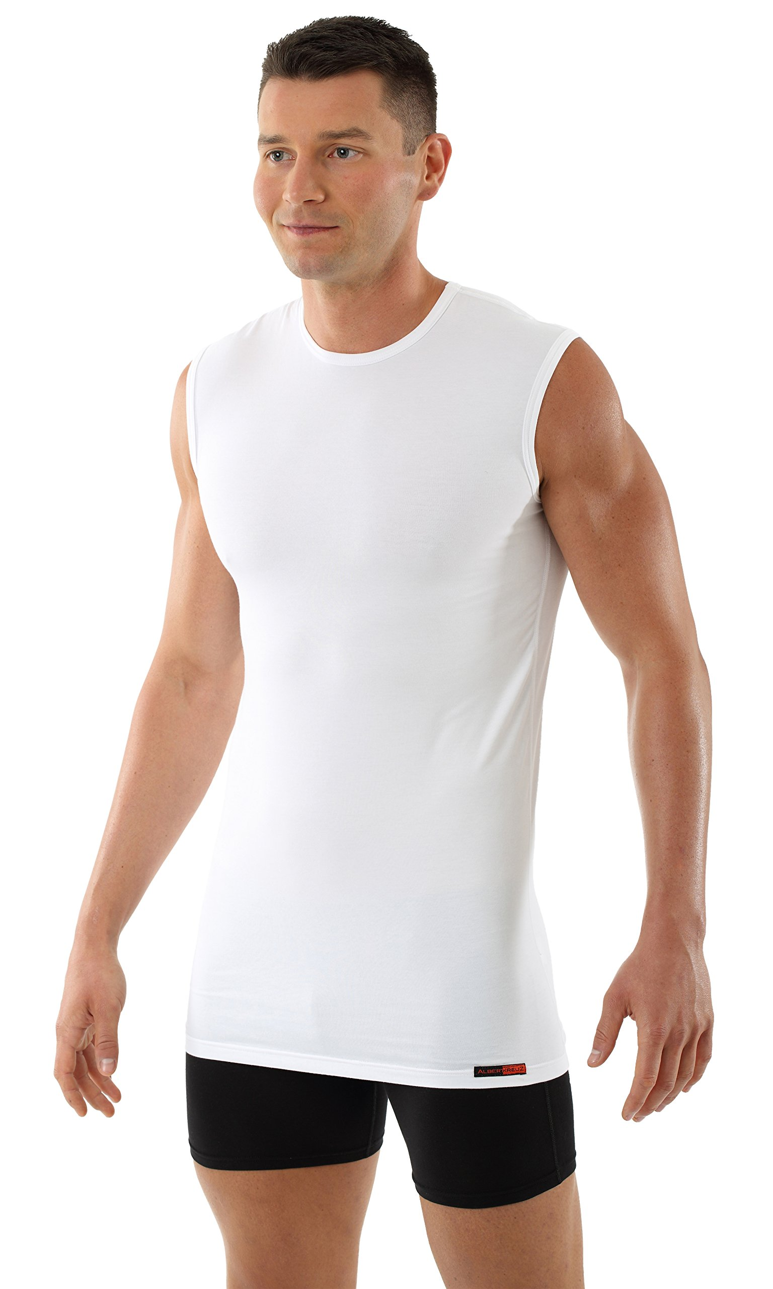 ALBERT KREUZ Men's Sleeveless U-Neck Business Undershirt Stretch-Cotton White L