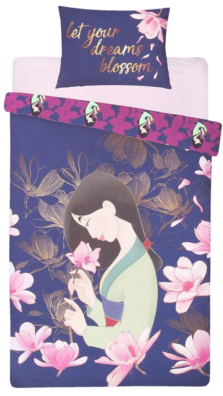 Pillow case Bedding Set MULAN DISNEY sarcia.eu Navy Blue//Pink Single Size Reversible Duvet Cover