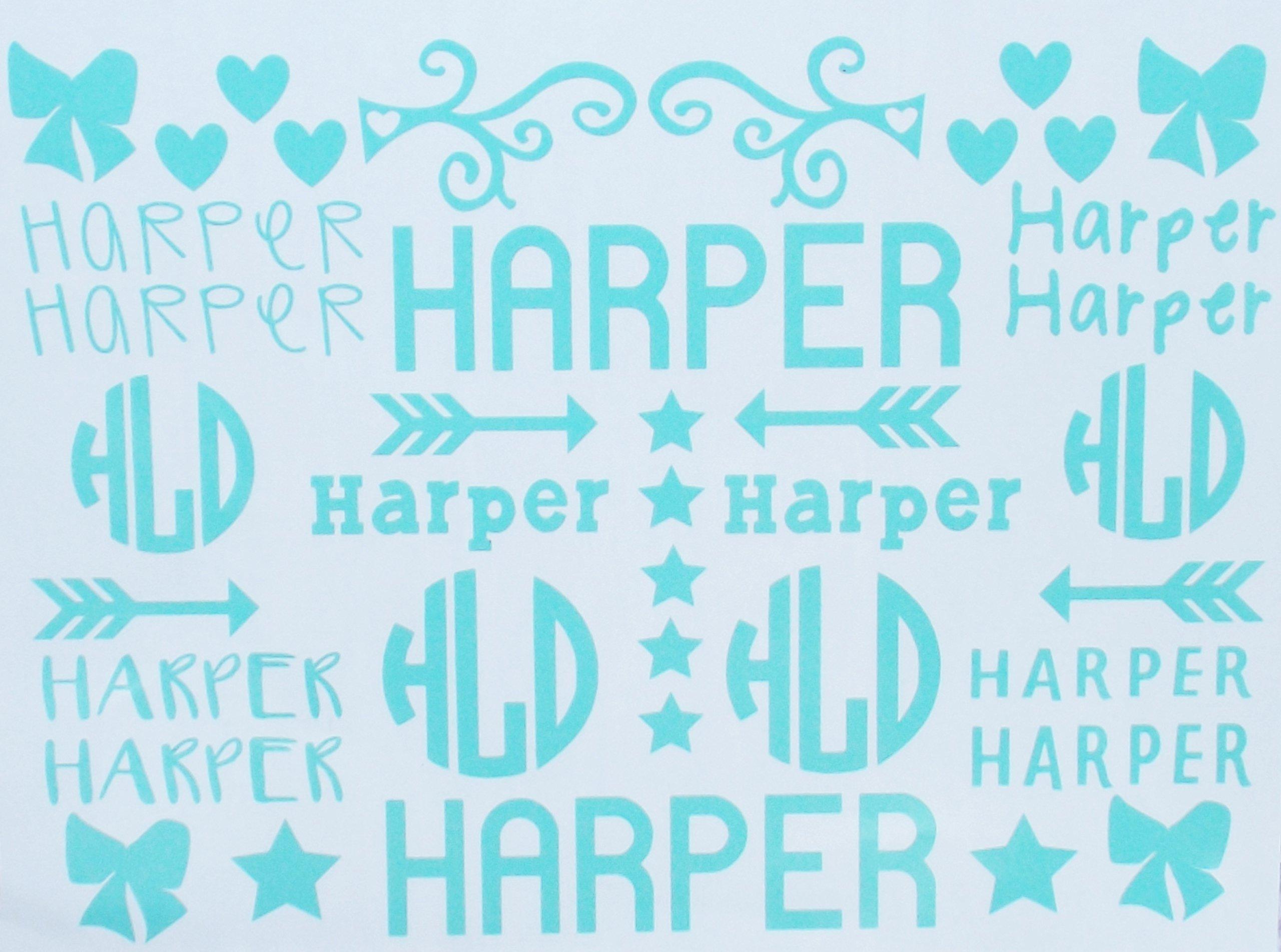 School Name Labels - Monogram Decal - Cheer Sports Bag Labels - School Organization - Six Designs - Boys Girls - Bows