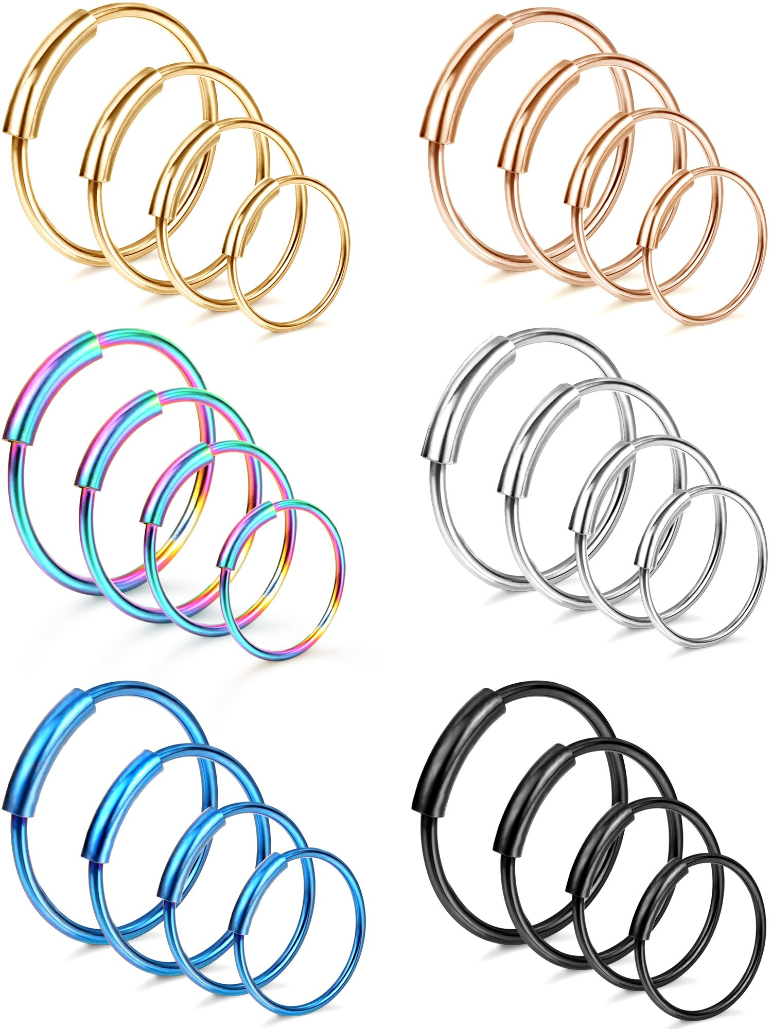 Hestya 24 Pieces 20 G Stainless Steel Nose Ring Continuous Hoop Earrings Body Piercing for Tragus Cartilage Nose Lip