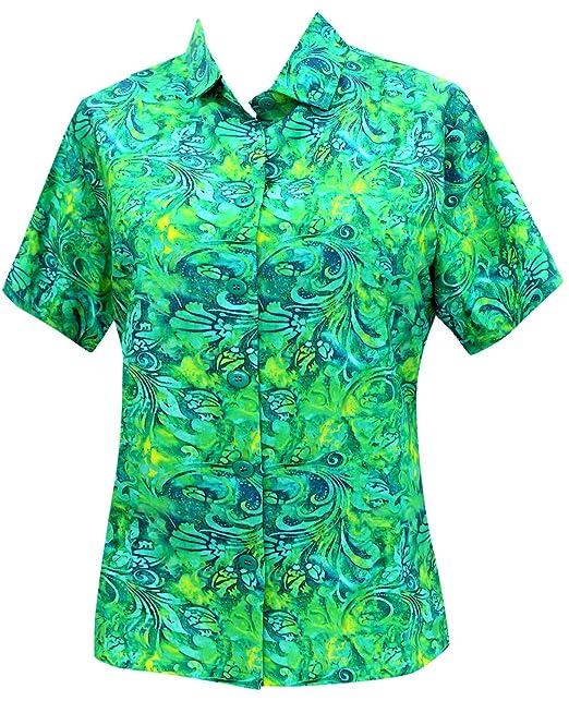 Hawaiano botón de la Camisa Blusas Mujeres aptas Abajo relajados Mangas Cortas Campo Verde: Amazon.es: Ropa y accesorios