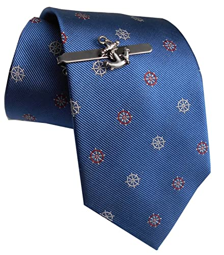 Set Maritime seda corbata + pasador de corbata ancla gunmetall + ...