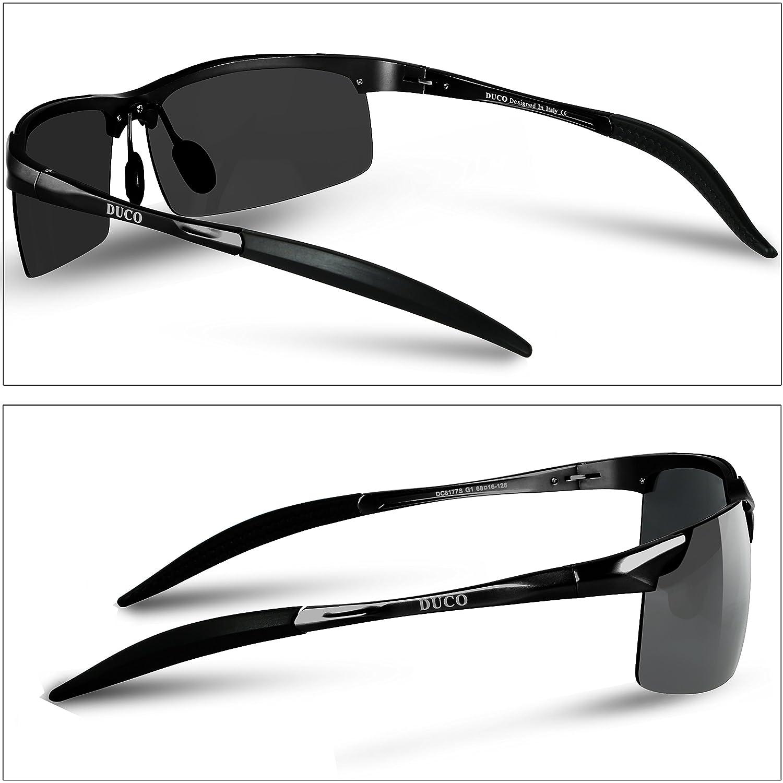 0081e9396ca Amazon.com  DUCO Mens Sports Polarized Sunglasses UV Protection Sunglasses  for Men 8177s(Black Frame Gray Lens)  Sports   Outdoors