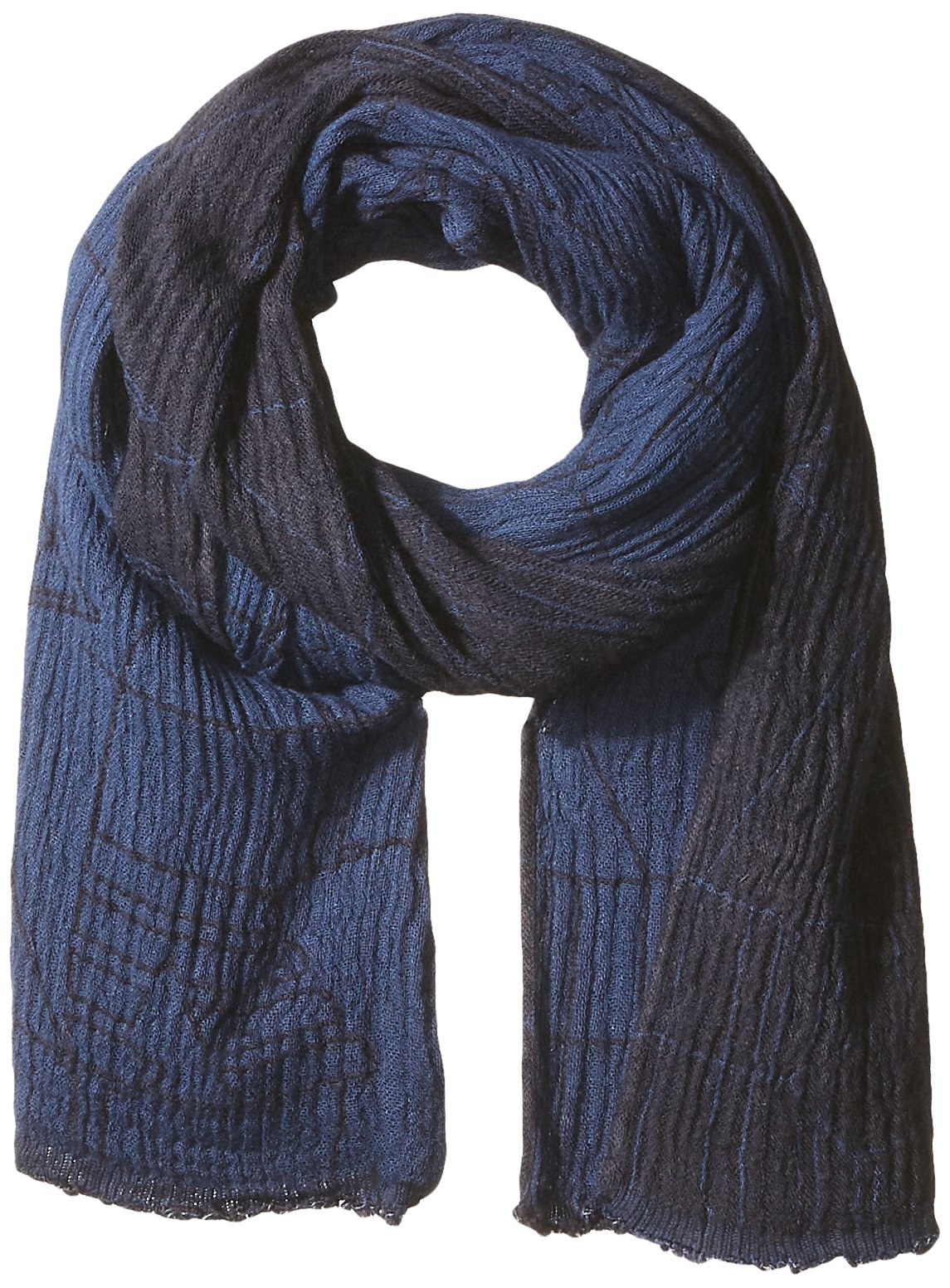 Armani Jeans Men's Viscose AND Cotton Fabric Scarf With Abstract Detail, navy blue, ONE SIZE