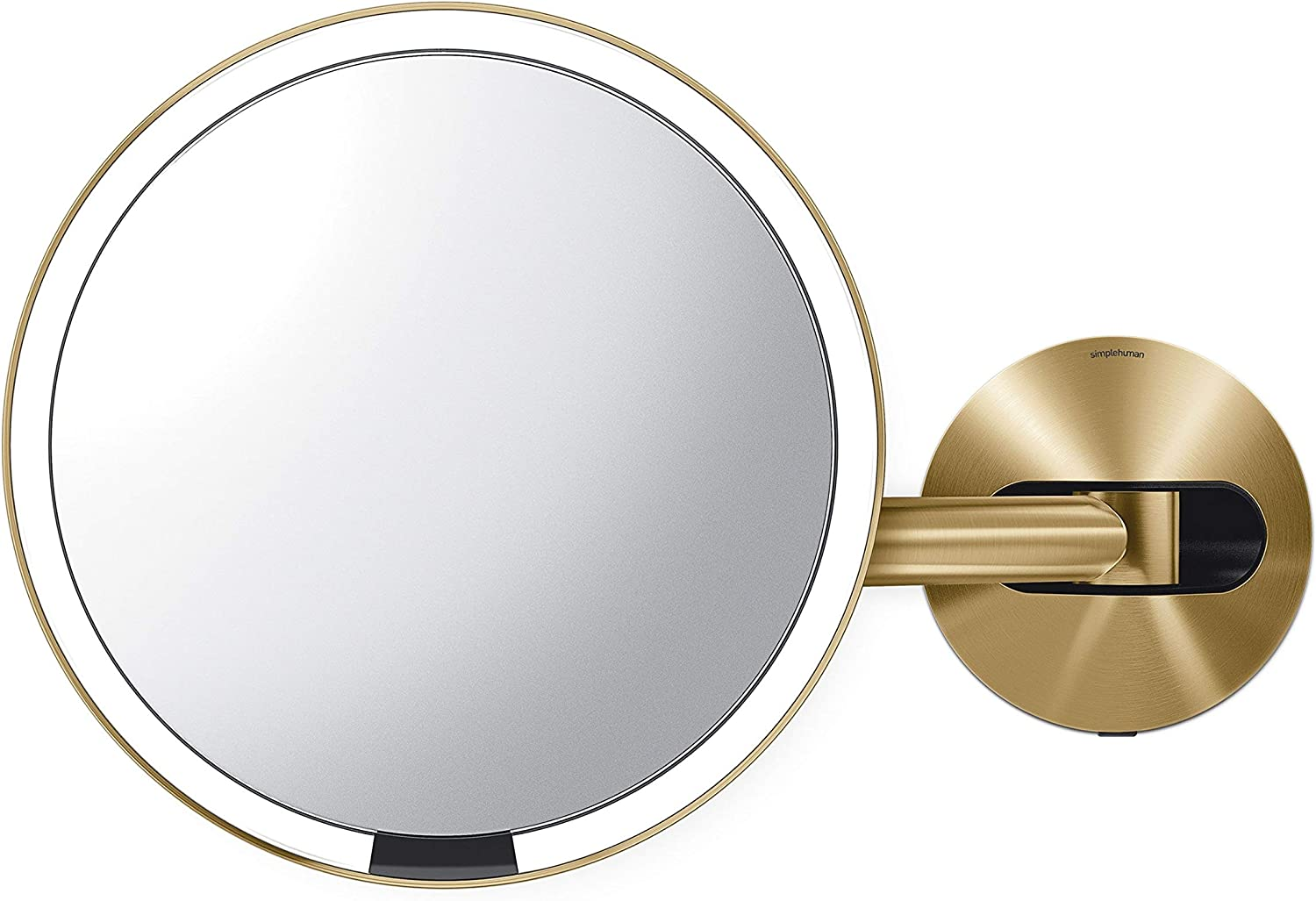"simplehuman Sensor Lighted Makeup Vanity Mirror 8"" Round Wall Mount, 5X Magnification, Hard-Wired (100-240v), Brass Stainless Steel"