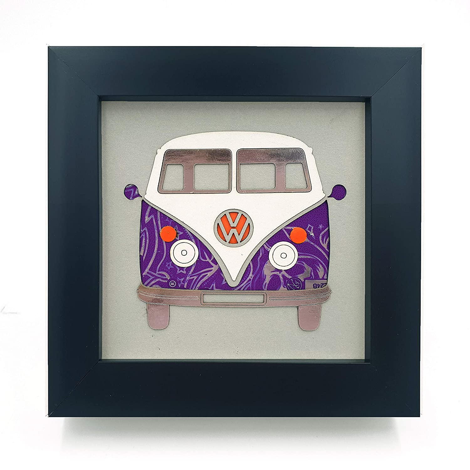 Upcycled//Recycled Can Picture Art Purple VW Camper Van