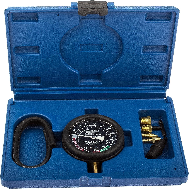 Vakuum Benzindruckprüfer Kompression Prüfer Drucktester Kraftstoff 0-10psi NEU