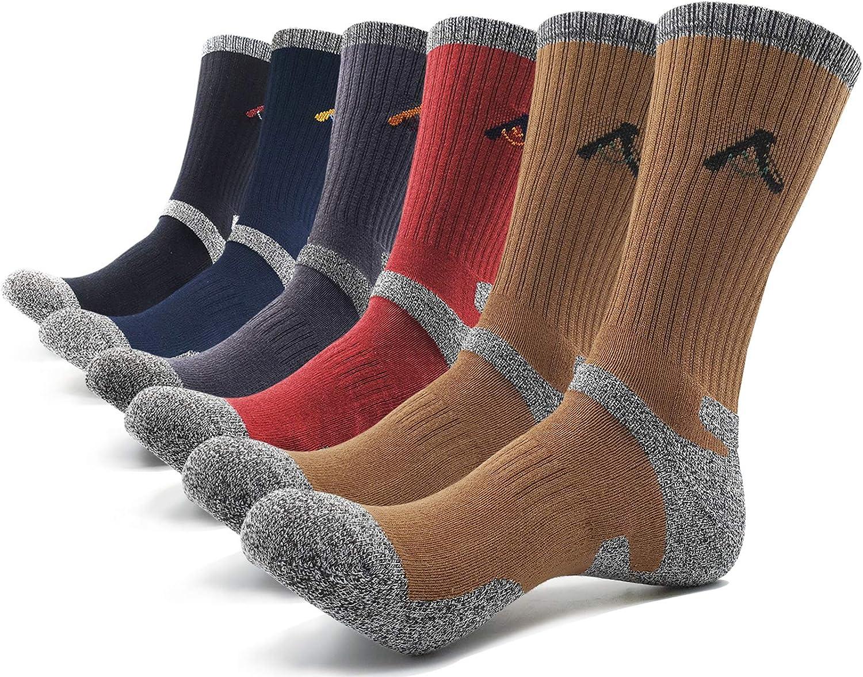 5+1 PEACE OF FOOT Hiking Socks boot socks For Mens 6 Pairs Multi Sports Trekking Climbing Camping working Crew Socks