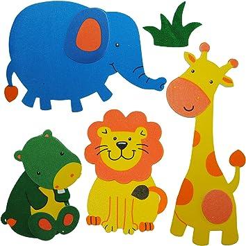 Alles Meine De Gmbh 5 Tlg Set 3 D Wandtattoo Fensterbild Moosgummi Lowe Elefant Giraffe Zootiere 3 D Wandsticker Wasserfest Ideal Auch Fur Das Badezimmer Tiere Amazon De Spielzeug