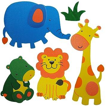 Unbekannt 5 Tlg Set 3 D Wandtattoo Fensterbild Moosgummi Löwe Elefant Giraffe Zootiere 3 D Wandsticker Wasserfest Ideal Auch Für Das