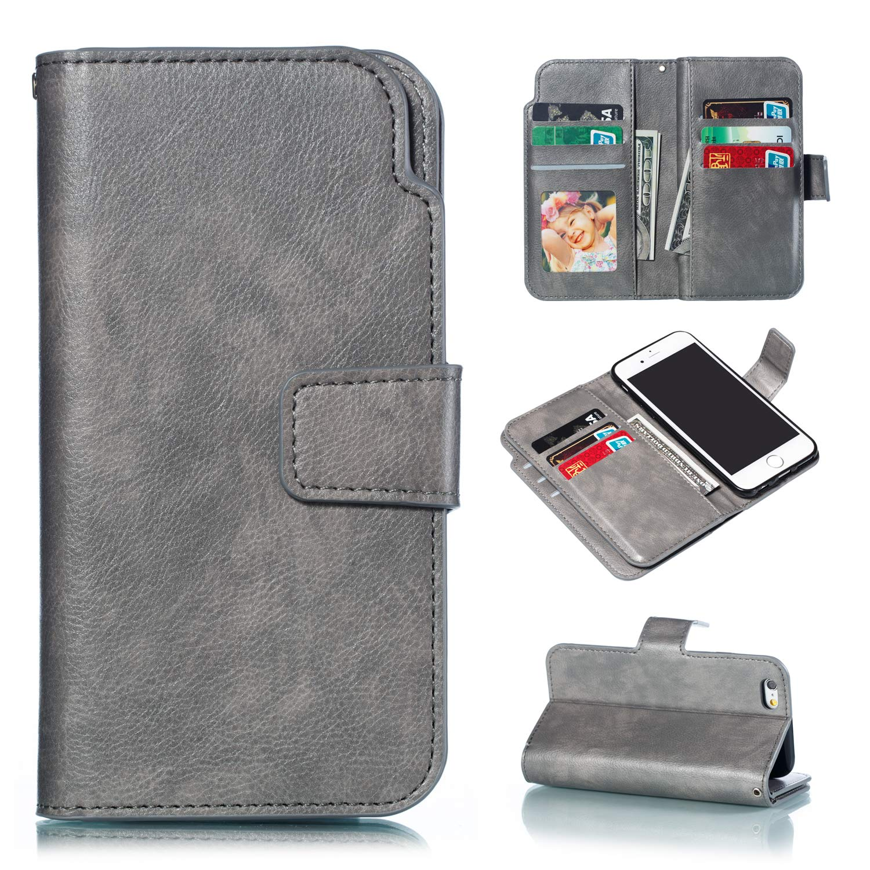 Handy hü lle Tasche Leder Flip Case Brieftasche Etui Schutzhü lle fü r Apple iPhone X XS/XR/XS MAX/5G 5S ES/6G 6s/6 Plus/7G 8G /7Plus /8Plus hü lle, 5 Farben TGGT MS-9ka-7 Plus-Rot