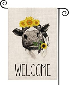 AVOIN Welcome Cow Garden Flag Vertical Double Sided, Sunflower Farmhouse Flag Yard Outdoor Decoration 12.5 x 18 Inch