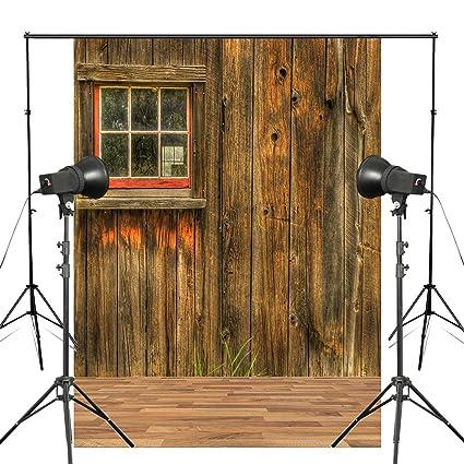 Rustic Barn Door Window Wall Background Smooth Texture Wood Floor Photography Backdrop Studio Props 5x7ft