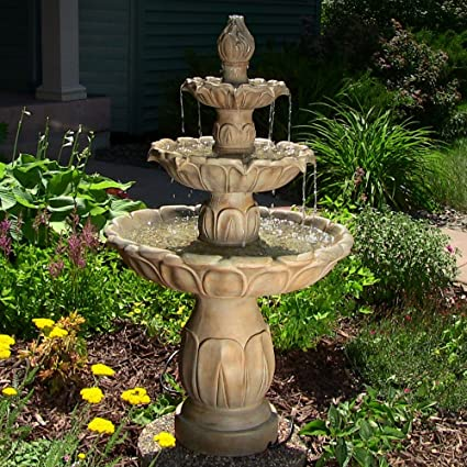 Sunnydaze Classic Tulip Three Tier Outdoor Water Fountain, 46 Inch