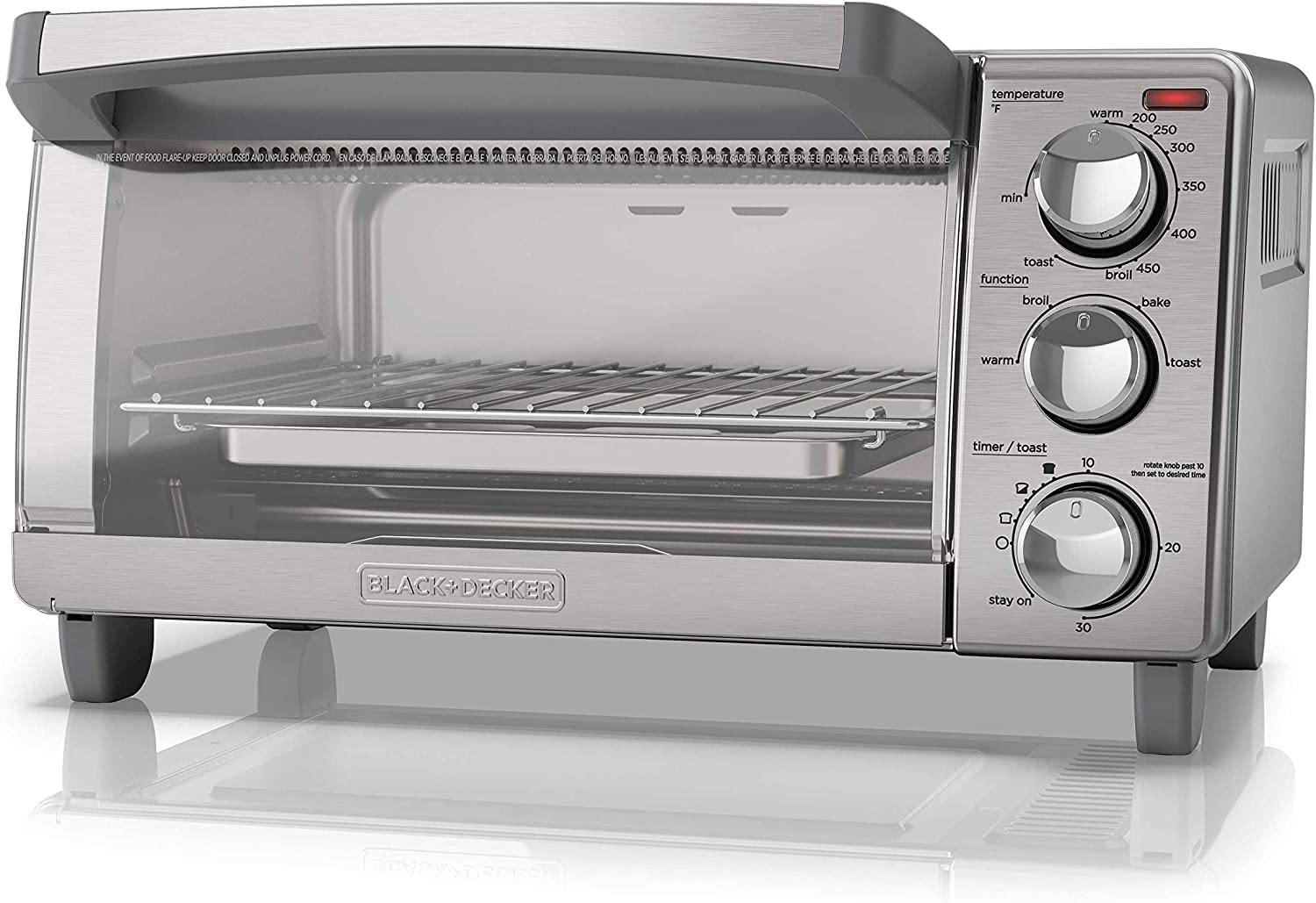 BLACK+DECKER4-Slice Toaster Oven with Natural Convection, Stainless Steel, TO1760SS (Renewed)