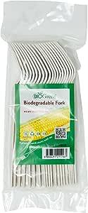 Biogreen Disposable Fork, Milky White (Pack of 20)