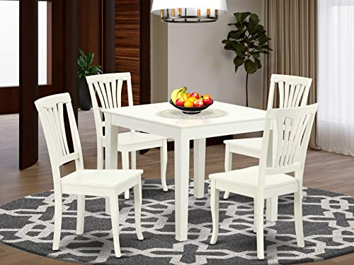 5PC Square 36 inch Table and 4 vertical slatted Chair