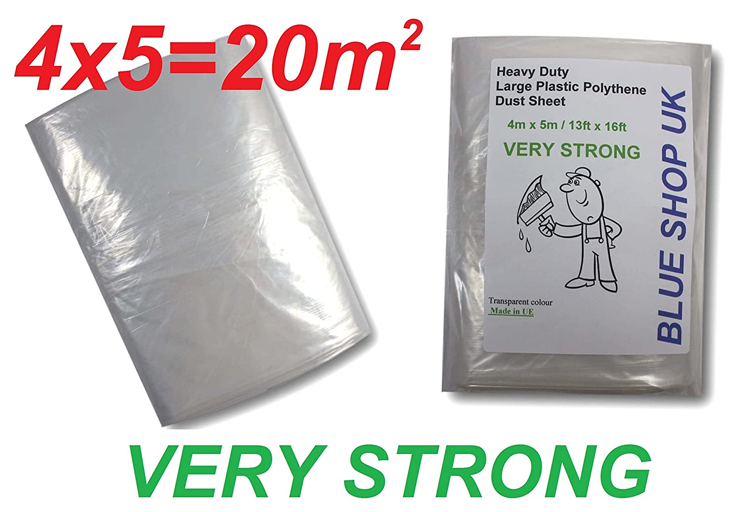 600g very strong 4m x 5m large plastic polythene dust sheet 13ft x 16ft painting masking floor windows odorless 1 x 600g very strong large polythene