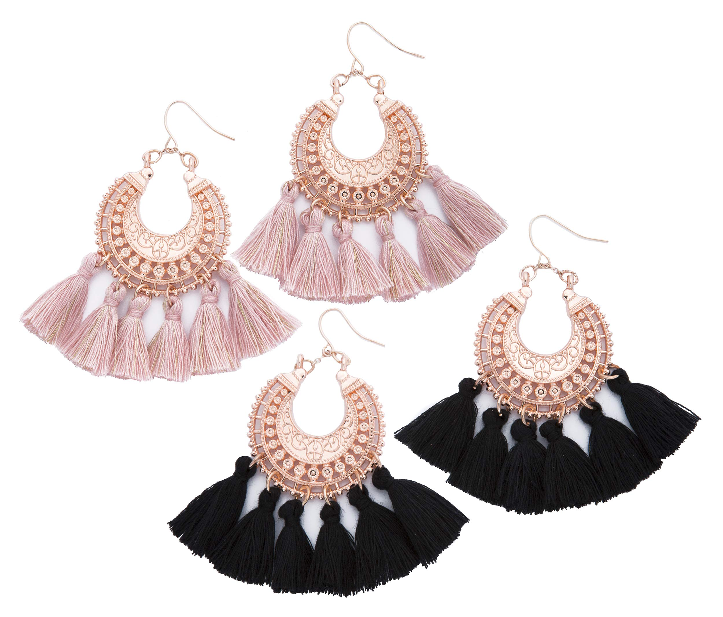 Rose Gold Pink Statement fringe fashion: tassel earrings gifts for women. Aretes de mujer drop dangle tassle summer hot earring by Blush & Co. Gift idea for birthday, wedding, friend (Blush and Black)