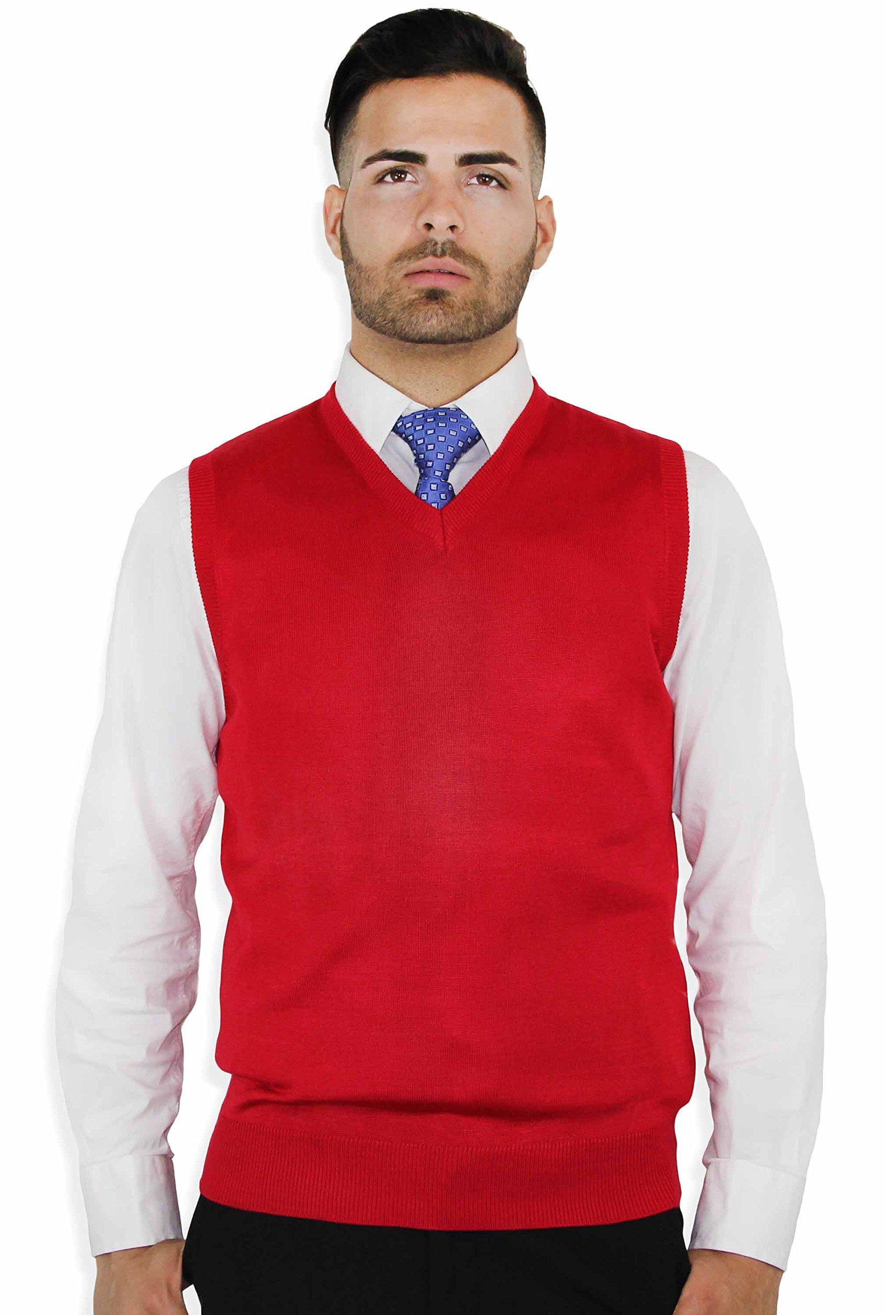 Blue Ocean Solid Color Sweater Vest Red Large