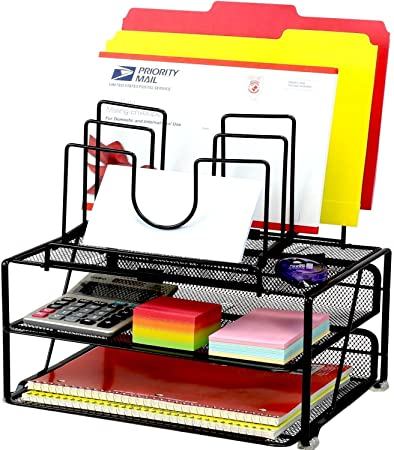 DecoBros Mesh Desk Organizer with Double Tray and 5 Stacking