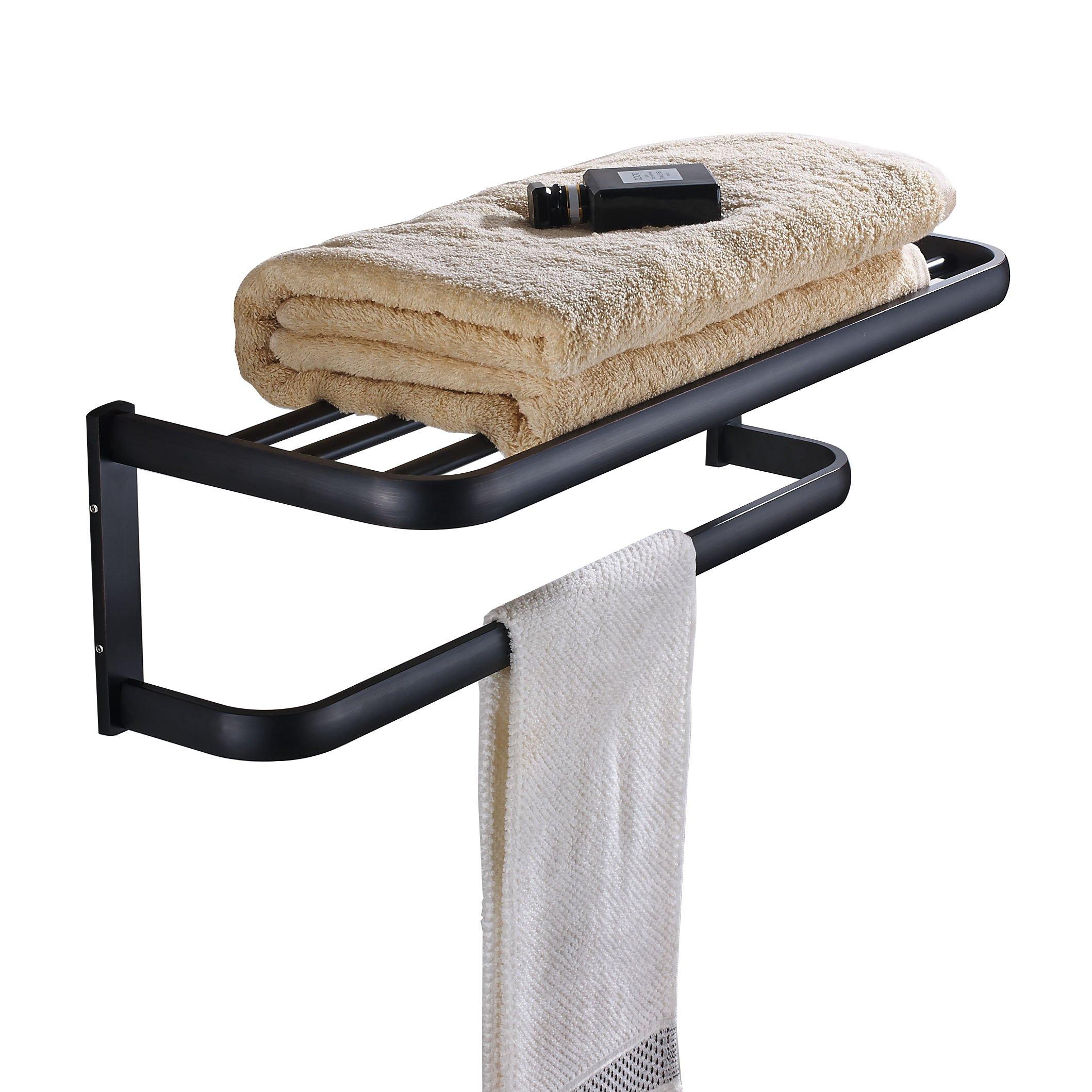 Rozin Oil Rubbed Bronze Bath Towel Holder Shelf Wall Mounted Towel Rack