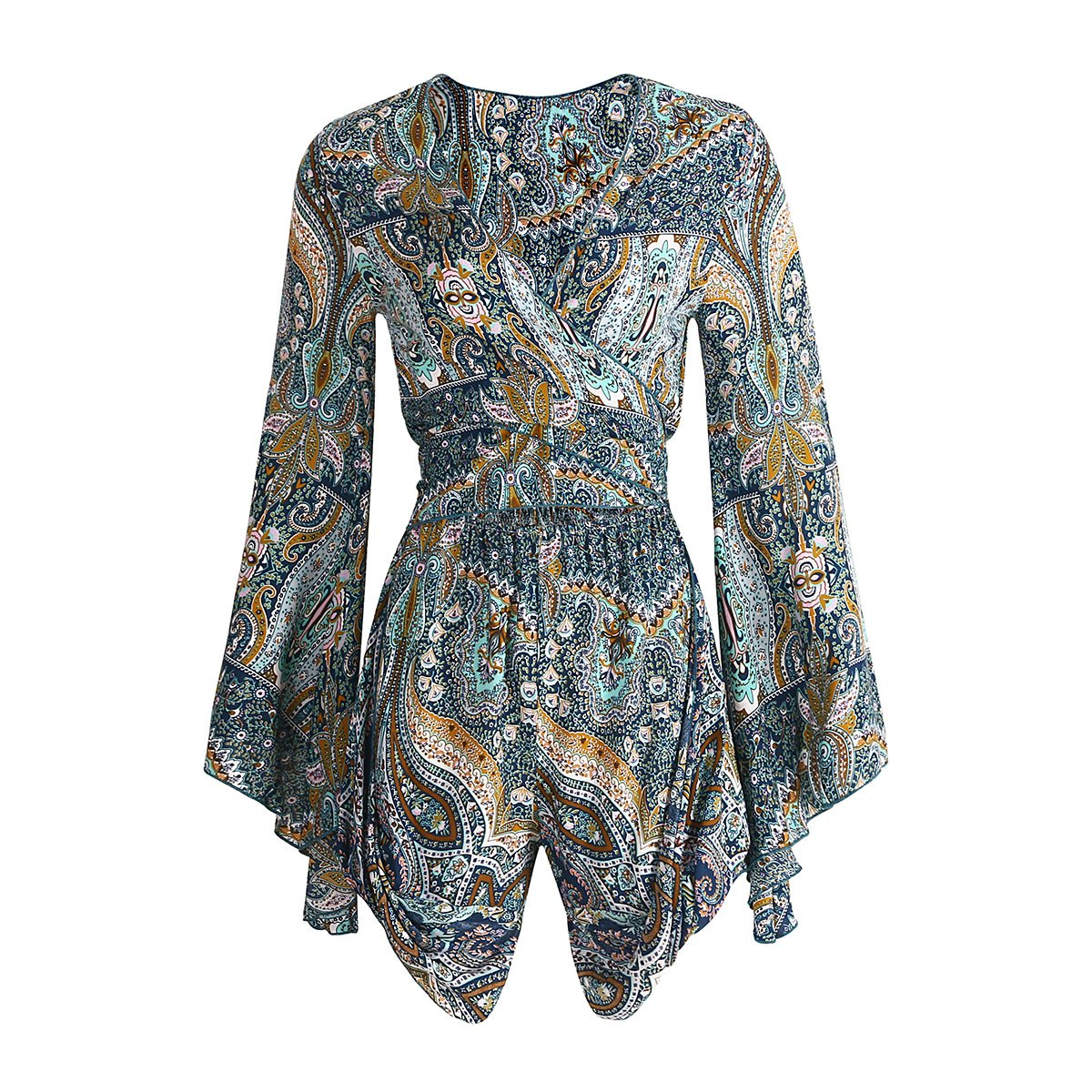 02447e0f35 Amazon.com  Wicky LS Women s Sexy V Neck Floral Prints Romper Jumpsuit   Clothing