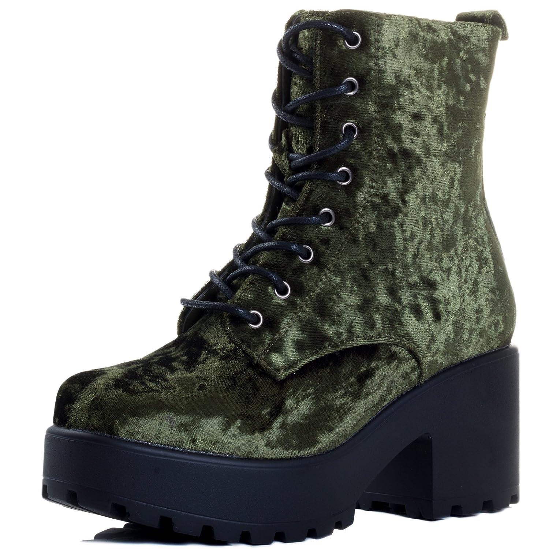 Spylovebuy Shotgun Block Heel Cleated Sole Lace up Platform Ankle Boots B079Y9VQL6 6 B(M) US|Green Velvet Style