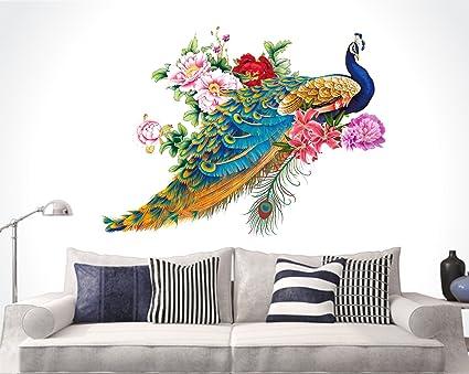 b048e372b93 Buy Happy Walls  Peacock Birds Nature  Wall Sticker (PVC Vinyl
