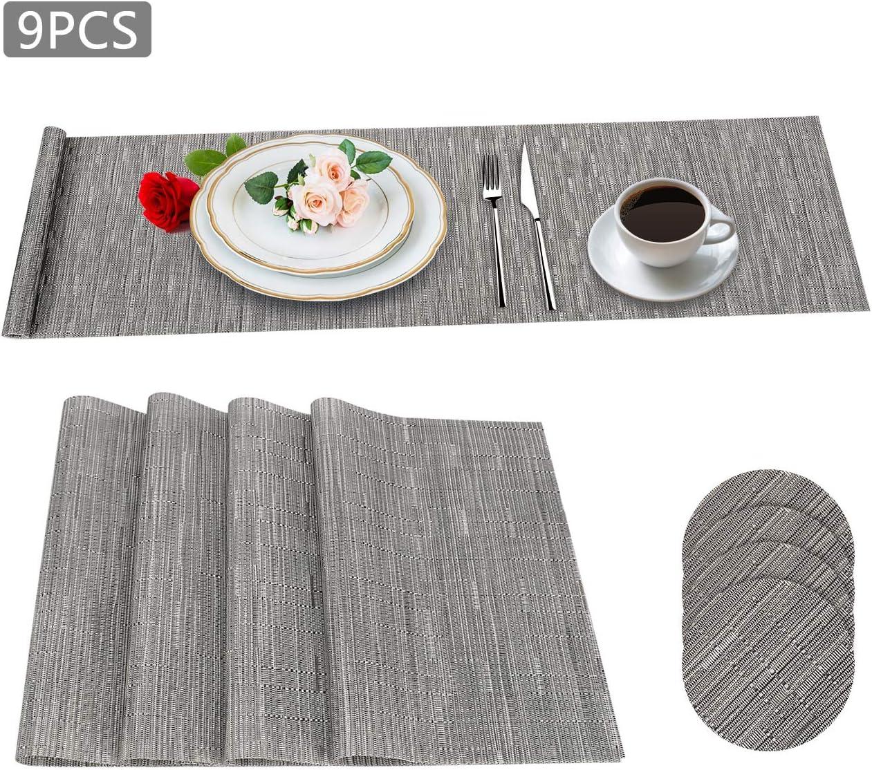 Aiglam Manteles Individuales Plastico, PVC Antideslizantes Mantel Conjunto,Woven Border Bronze Antideslizantes Resistente al Calor Juego para la Mesa de