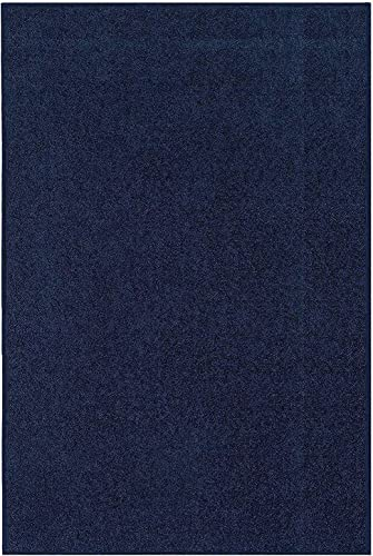 Our Space Collection Solid Color Area Rugs Navy – 2 x3 with Non Slip Backing