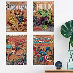 Edge home 4 Piece Vintage Marvel Comic Book Superhero Corkboard Canvas Wall Art Iron Man Hulk Spider-Man Captain America Wall Art Décor