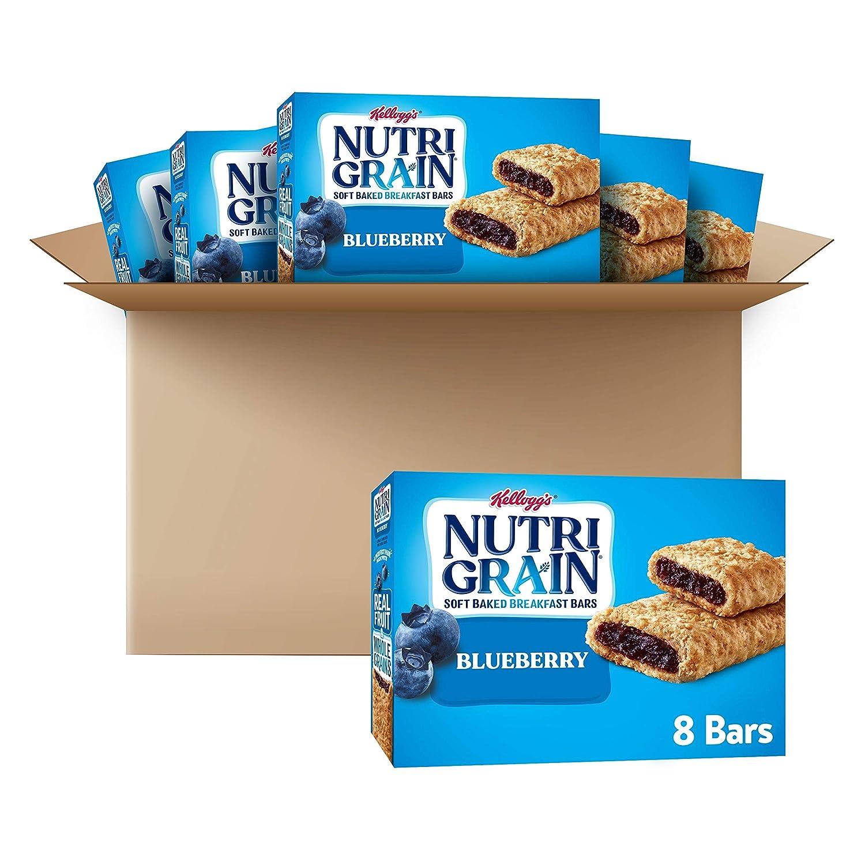 Nutri-Grain Soft Baked Breakfast Bars, Blueberry, Real Fruit, Whole Grain Snack, 1.3 oz Bars (48 Bars)