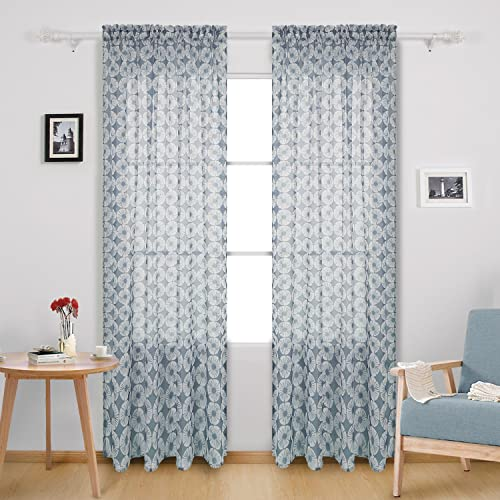 Deconovo Curtains Transparent Voile Drapes Floral Pattern Rod Pocket Sheer Panels for Nursery, 52W x 95L Inch, Grey