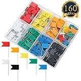 SUBANG 160 Pieces Push Pins Map Flag Push Tacks, Assorted 7 Colors