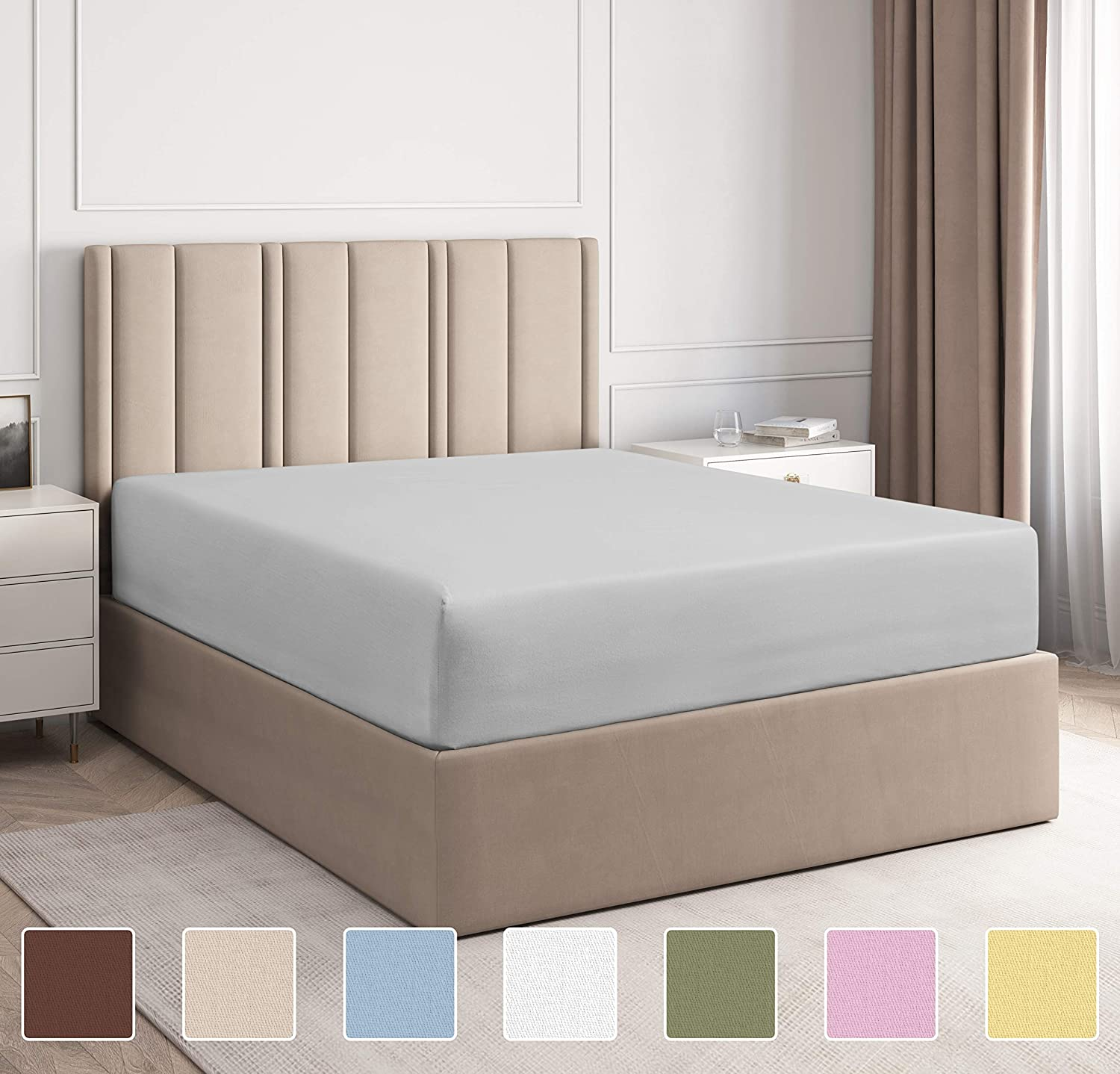 Full Size Fitted Sheet - Single Fitted Sheet Full - Fitted Sheet Only - Fitted Sheet Deep Pocket - Fitted Sheet for Full Mattress - Softer Than Egyptian Cotton - 1 Fitted Full Sheet Only - Fitted Full