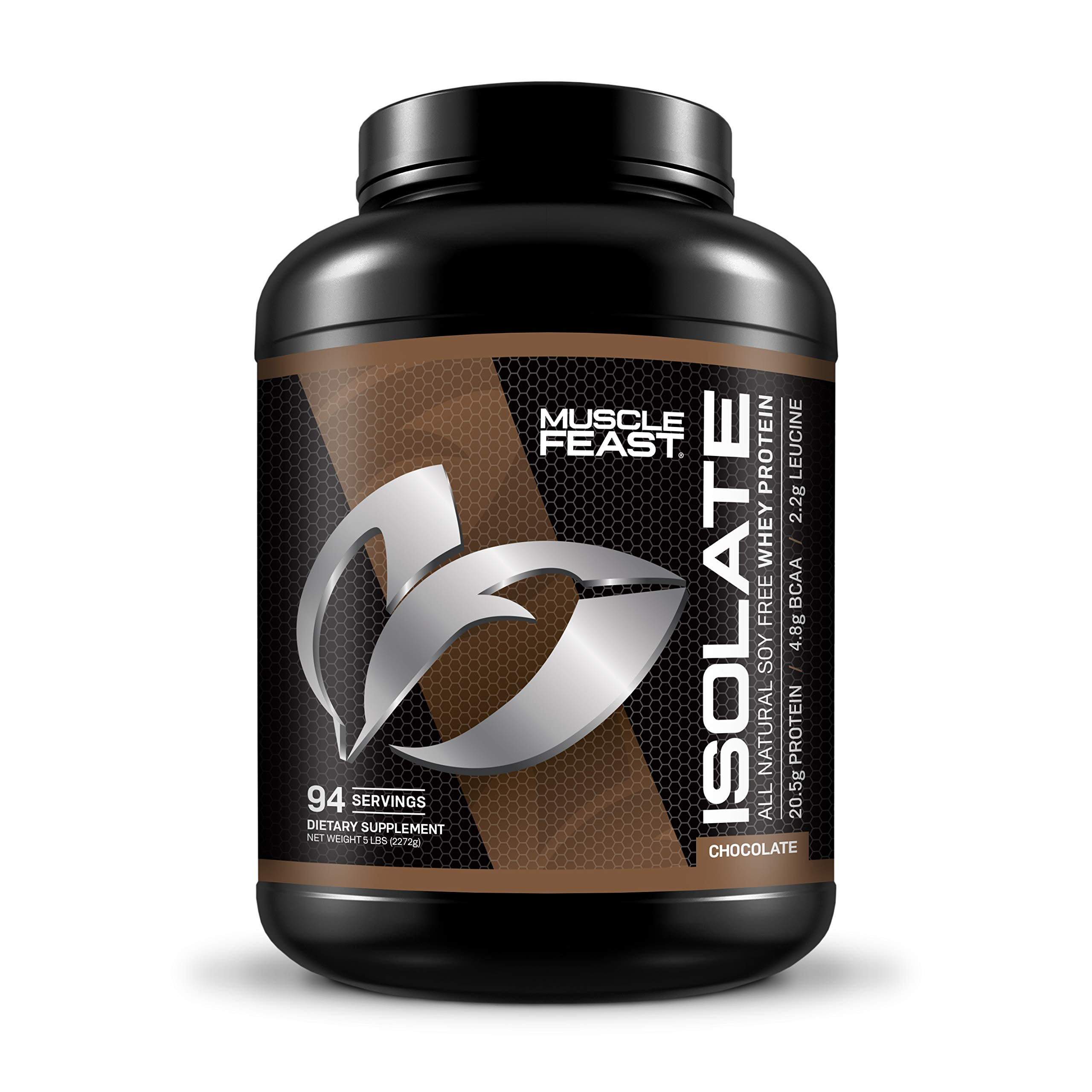 Pure Whey Protein Isolate Powder by Muscle Feast | All Natural and Kosher Certified (5lb, Chocolate)