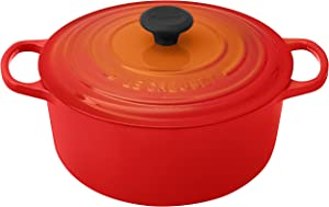 Le Creuset LS2501-262 Signature Enameled Cast-Iron Round French (Dutch) Oven, 5-1/2-Quart, Flame