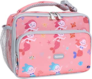 Amersun Kids Lunch Box,Durable Insulated School Lunch Bag with Padded Liner Keeps Food Hot Cold for Long Time,Small Thermal Travel Lunch Cooler for Girls Boys-2 Pockets,Cartoon mermaid